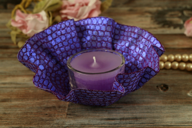 Purple tea light holder and candle, textile art, unusual gift, home decoration