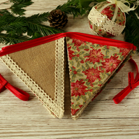 Christmas decorations, rustic fabric bunting, handmade Christmas, festive decor