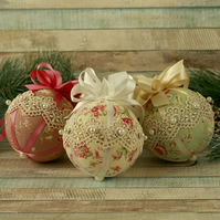 Handmade tree decorations, Shabby chic hanging decor, fabric Christmas baubles
