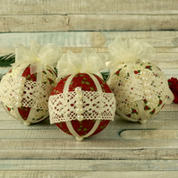 Set of 3 tree decorations, Christmas hanging ornaments, handmade fabric baubles