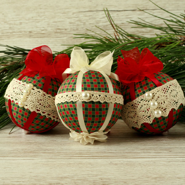 Christmas decorations, fabric baubles, Christmas ornaments, bauble set