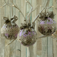 Christmas baubles, Shabby chic tree decorations, fabric hanging ornaments