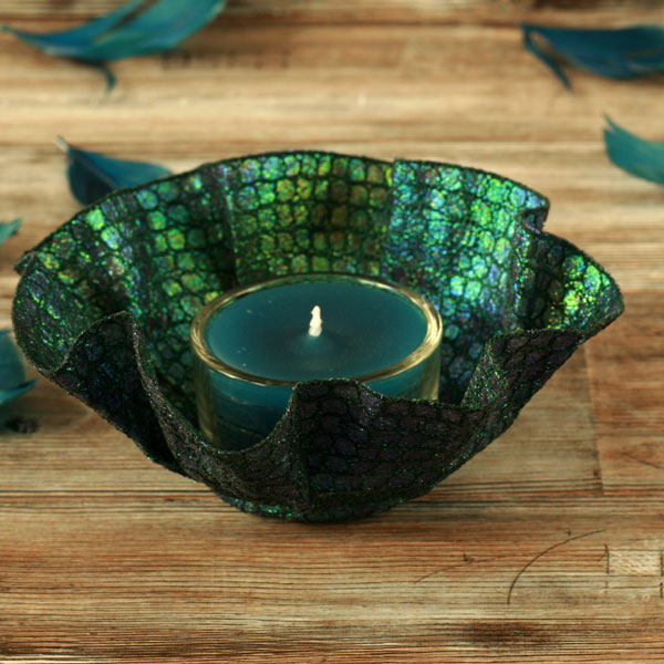 Embroidery tea light holder and blue tea candle, unusual textile art gift