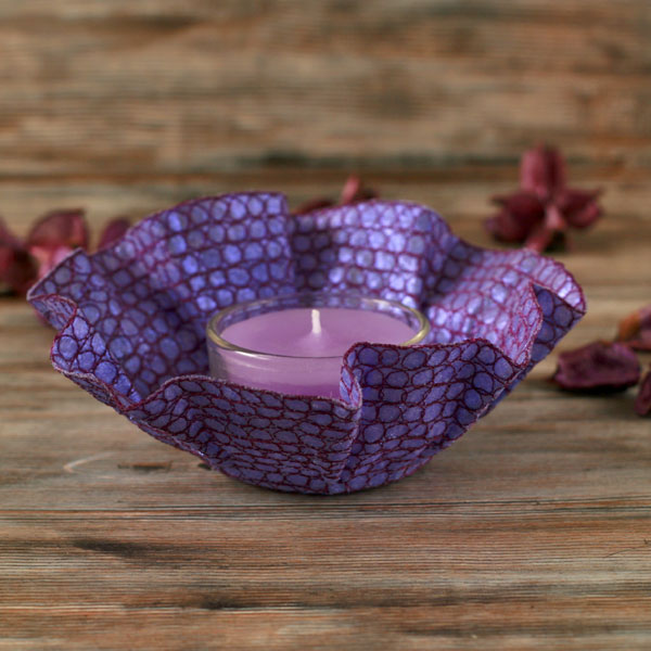 Embroidery tea light holder and lilac tea candle, unusual textile art gift