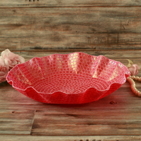 Pink embroidered dish, decorative textile art, unusual Christmas gift