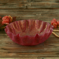 Pink embroidered bowl, decorative textile art, unusual Christmas gift