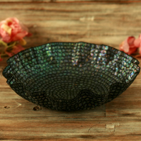 Black embroidered bowl, decorative textile art, unusual Christmas gift