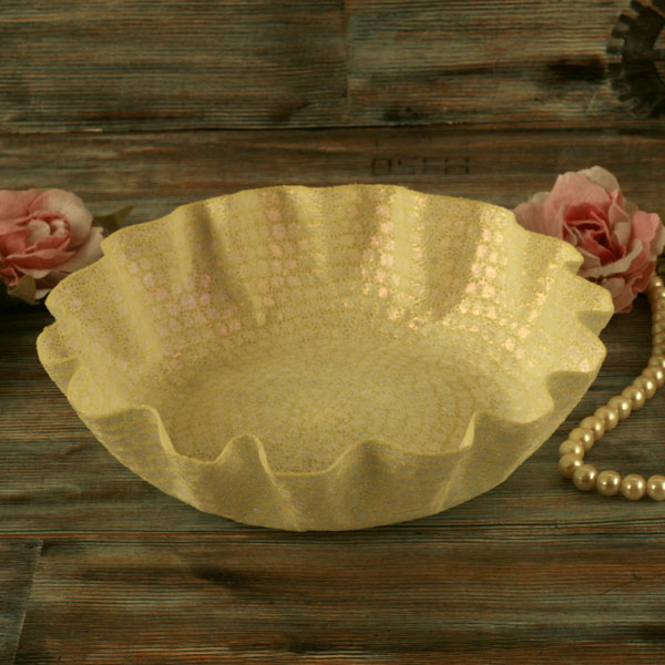 Cream embroidered dish, decorative textile art, unusual Christmas gift