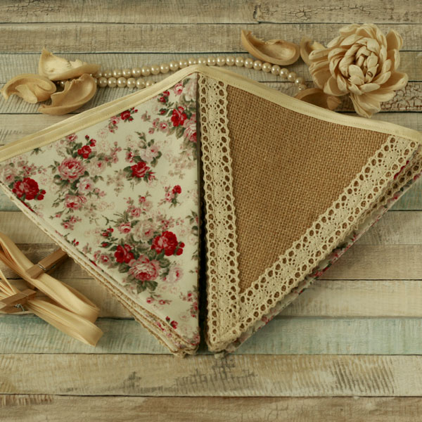 Rustic bunting, vintage decor, floral and lace flags, hessian fabric banner