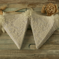 Lace bunting, vintage wedding decorations, Shabby chic home decor, flower banner