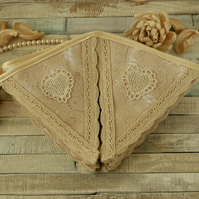 Romantic lace bunting, vintage wedding decor, boho home decor, fabric banner