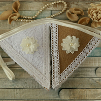 Lace bunting, vintage wedding decorations, rustic home decor, flower banner