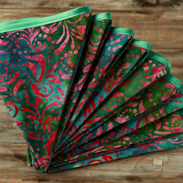 Retro batik bunting funky decor hippie fabric folksy for Funky decorations for the home