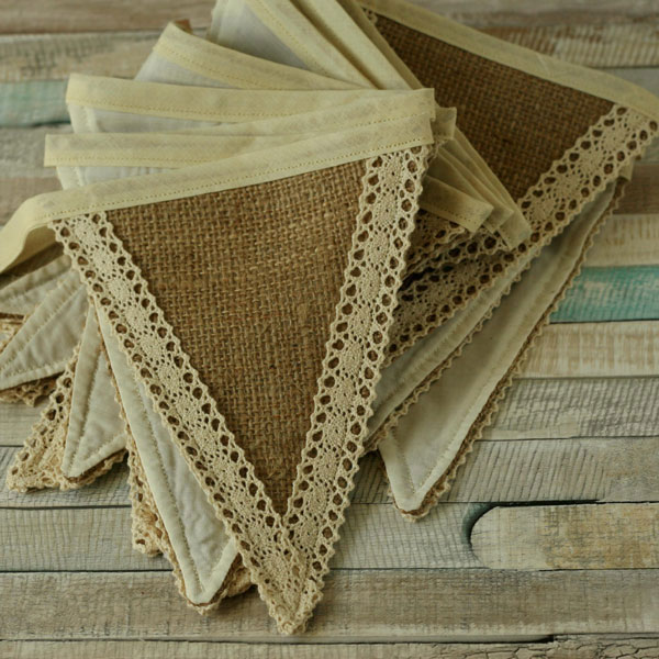 Hessian and lace bunting, rustic home decorations, vintage party fabric banner