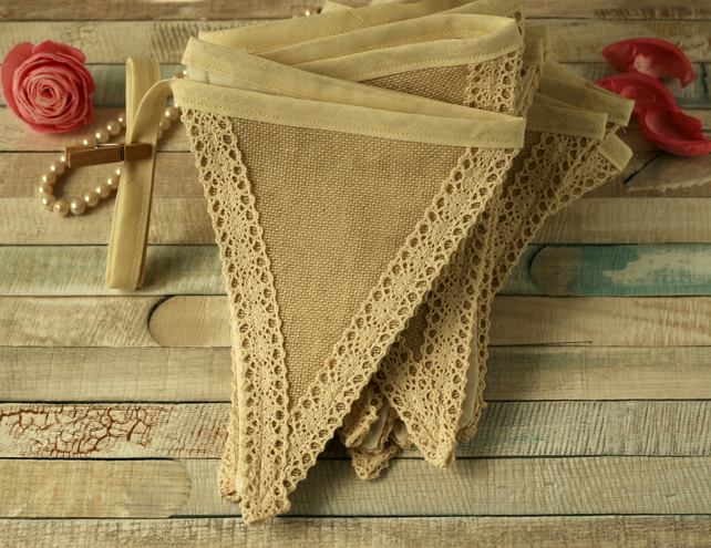 Fabric and lace bunting flags, rustic home decorations, vintage party banner