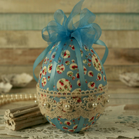 Easter decorations, blue Easter egg, spring hanging ornament, Shabby chic decor