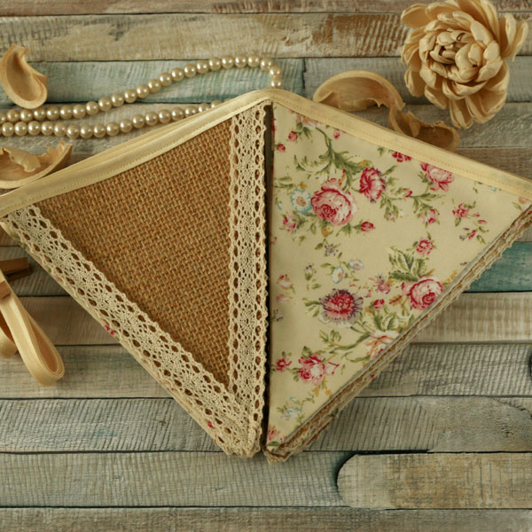 Spring yellow floral bunting, vintage home decor, rustic hessian fabric banner