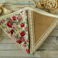 Spring floral and lace bunting, vintage home decoration, rustic fabric banner