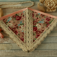 Pink floral and lace bunting flags, vintage decor, Shabby chic fabric banner