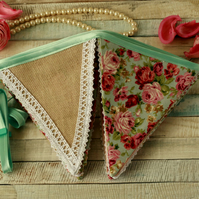 Floral and lace bunting, Shabby chic flags, rustic fabric banner, vintage decor