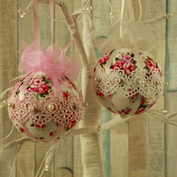 Lace hanging ornaments, Shabby chic home decor, vintage decorations, floral gift