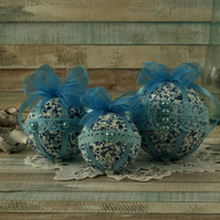 Hanging ornaments, vintage home decor, Shabby chic decorations, blue floral gift