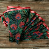 Peacock fabric bunting, retro decor, funky banner, boho home decorations