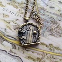 Hobbit Door LOTR Locket Necklace Fairy Charm Bronze