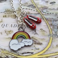 Somewhere Over the Rainbow Dorothy's Red Shoes Necklace
