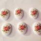 Vintage Limoges Style Rose Oval 18x13mm Cabochons crafts x 8