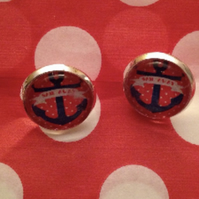 Retro Red Blue Anchor Sailor jerry Silver Stud Earrings nautical 12mm Rockabilly