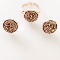 Rose Gold Faux Druzy Earrings & Ring Set