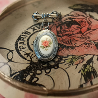 Rose Bud Silver Locket Brooch