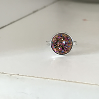 Gold Flecked Pink Galaxy Ring