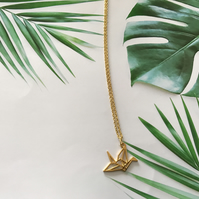 Origami Geometric Crane Necklace, Bird, Japanese, Good Luck
