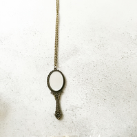 Handheld Miniature Looking Glass Mirror Necklace