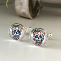 White Day of the Dead Sugar Skull cufflinks