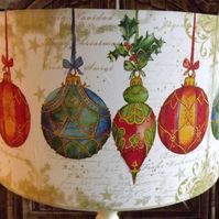 Christmas Lampshade Xmas Baubles Lamp Decoration Shabby Chic Free Gift