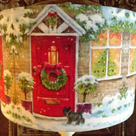 Christmas Lampshade Snowy Cottage Lamp Xmas Decoration Shabby Chic Free Gift