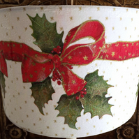 Christmas Lampshade Holly & Bows. Ceiling Xmas Decoration Shabby Chic Free Gift