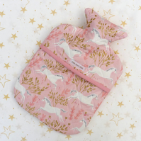 Unicorn quilted hot water bottle cover