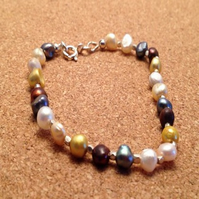 Multicoloured fresh water  pearl bracelet , natural pear stacker l bracelet