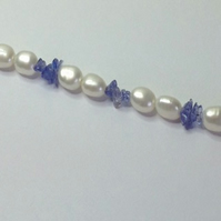 Pearl and Tanzanite chips  classic necklace