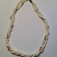 Three stand twisted shell necklace