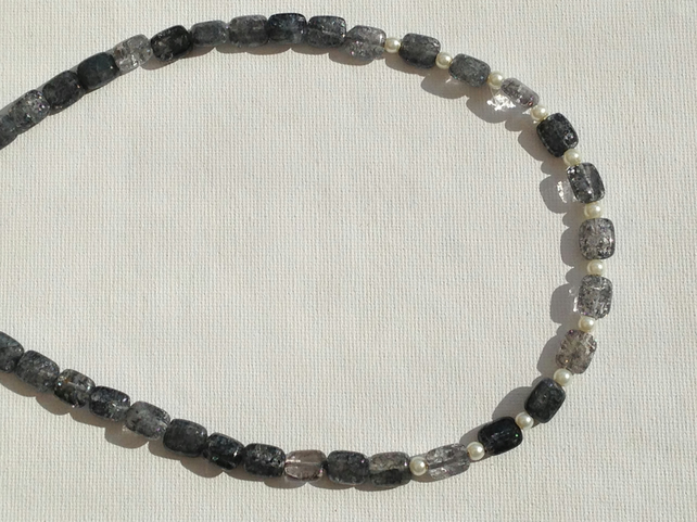 Black crackled quartz and pearl necklace