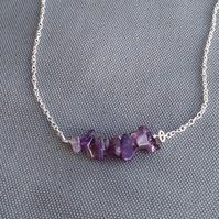Amethyst chip and sterling silver necklace