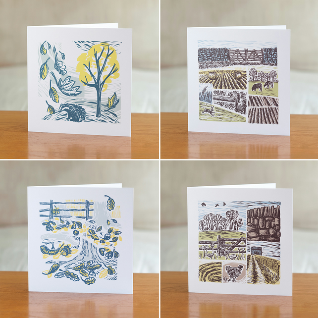 Pack of four greetings cards - Farm Yarns and Cover Story designs