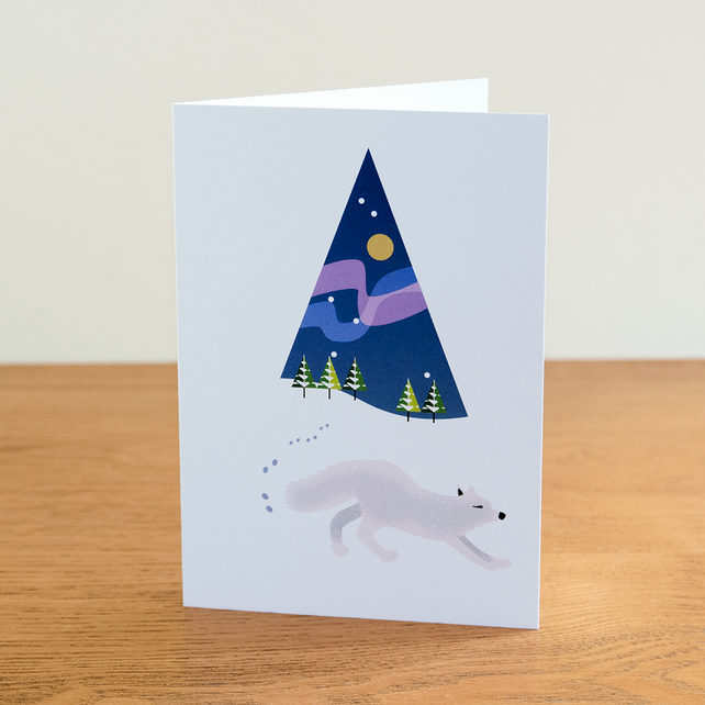 "Barnal Sno (Pine Needle Snow) greetings card - ""Arctic Fox"" design"