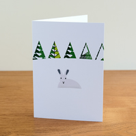 "Barnal Sno (Pine Needle Snow) greetings card - ""Arctic Hare"" design"
