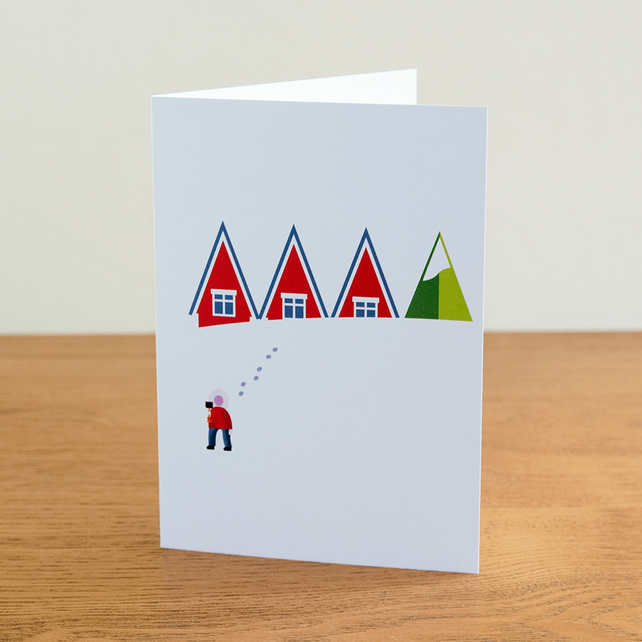 "Barnal Sno (Pine Needle Snow) greetings card - ""Snowed Under"" design"